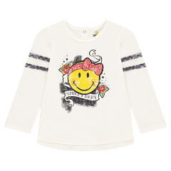 Tee-shirt manches longues en jersey slub avec print ©Smiley esprit rock