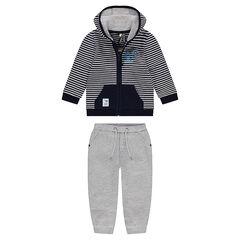 Jogging en molleton avec veste rayée et pantalon gris chiné