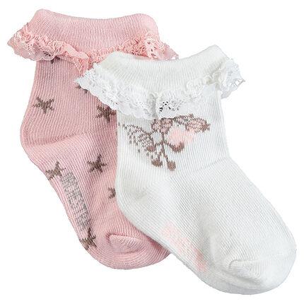 Lot de 2 paires de chaussettes assorties avec bord-côte en dentelle