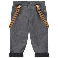 Pantalon à fines rayures doublé polaire à bretelles