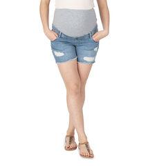 Jeansshort met used effect en hoge band
