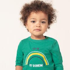 T-shirt met lange mouwen uit jerseystof met regenboog en boodschap op de achterkant