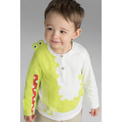 Tee-shirt manches longues en jersey avec crocodile printé et détails en relief