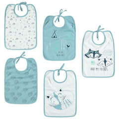 Lot de 5 bavoirs en jersey prints renards