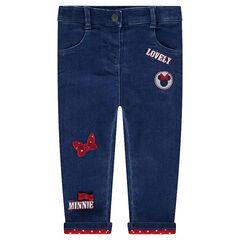 Jeans effet used doublé jersey avec badges Minnie ©Disney
