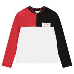 Junior - Polo met lange mouwen in drie kleuren met zak met print en  baseballkraag