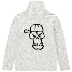 Junior - T-shirt manches longues à col cheminée et tête de mort printée