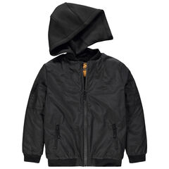 Junior - Zwart jasje met afneembare kap met Smiley-print aan de achterzijde