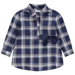 Geruit hemd met lange mouwen en gesatineerde lintjes