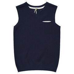 Junior - Pull sans manches avec poche passepoilée