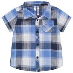 Chemise manches courtes à carreaux et poche