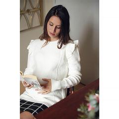 Zwangerschapstrui van tricot met mouwinzet met volants