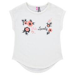 T-shirt met korte mouwen en geborduurde bloemen
