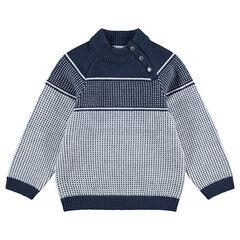 Pull en tricot avec motif jacquard et col pressionné