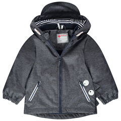 Parka chinée à capuche avec visière intégrée et doublure jersey