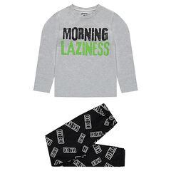 """Junior - Pyjama van jerseystof met print met boodschap en broek met print """"all-over"""""""