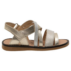Nu-pieds dorés à brides texturées en cuir