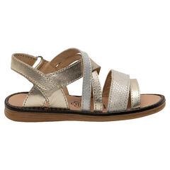 Gouden sandalen met lederen riemen met textuur