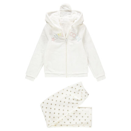 Junior - Pyjama en polaire licorne avec capuche fantaisie reliéfée