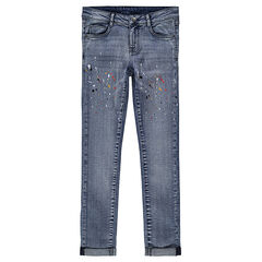 Junior - Slim-fit jeans met print met verfvlekken