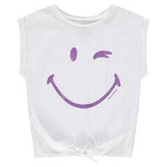 T-shirt met korte mouwen met rechte vorm en ©Smiley-print met pailletjes