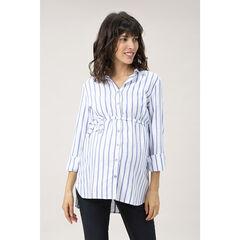 Chemise manches longues de grossesse à rayures verticales