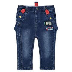 Jeans met used-effect, afneembare bretellen en gekleurde opschriften