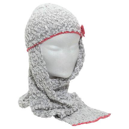 Muts/sjaal van popcornbreiwerk met contrasterende strik