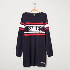 Junior - Robe manches longues en tricot avec badges Smiley