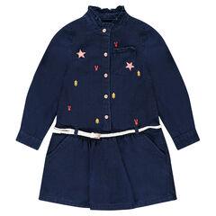 Robe manches longues en coton fantaisie effet jeans avec broderies contrastées