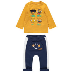 Jogging en molleton bicolore print Smiley