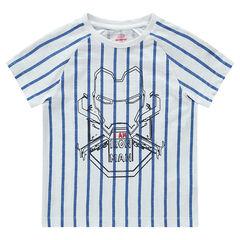 Tee-shirt manches courtes rayé avec print ©Marvel Iron Man