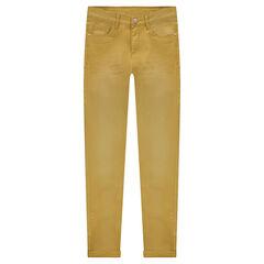 Junior - Slim-fit broek van effen twill met used en crinkle effect