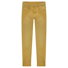 Junior - Pantalon en twill effet used et crinkle coupe slim