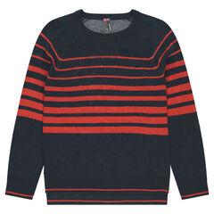 Trui van fijne tricot met contrasterende rode strepen