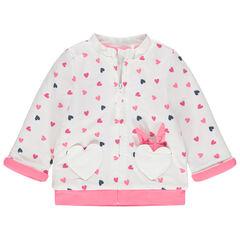 Gilet en molleton doublé jersey à coeurs imprimés all-over