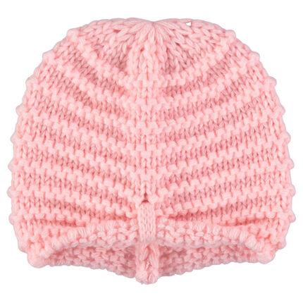 Dikke, roze tricotmuts