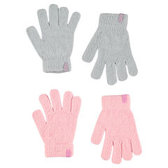Lot de 2 paires de gants magiques en tricot chenille