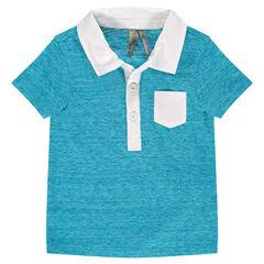 Polo manches courtes bleu chiné avec col et poche twill