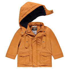 Parka en coton enduit doublée sherpa avec poches à rabat