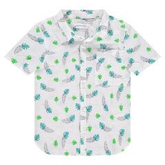 Hemd met korte mouwen van fantasiekatoen met blaadjesprint
