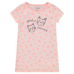 Chemise de nuit en jersey avec coeurs all-over et chats printés