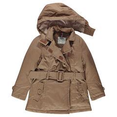 Junior - trenchcoat in twill met verwijderbare kap en pailletjes