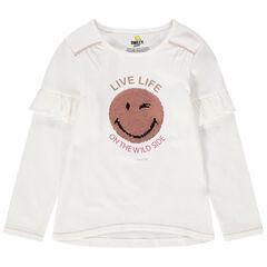 T-shirt met lange mouwen met volants van jerseystof met Smiley van magische lovertjes