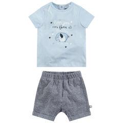 Ensemble van T-shirt met olifantprint en gemêleerde short