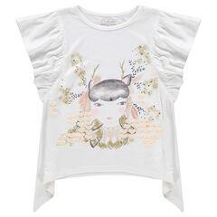 T-shirt met korte mouwen met volants en print met personage