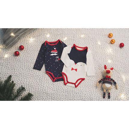 """Set met 2 body's met lange mouwen in kerststijl met print """"all-over""""/pinguïnprint"""