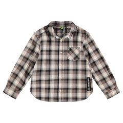 Chemise manches longues à carreaux avec étiquette fantaisie