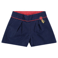 Shorts faux-uni met badge met franjes en rode toetsen