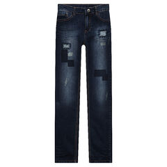Junior - Jeans coupe slim effet used avec patchs